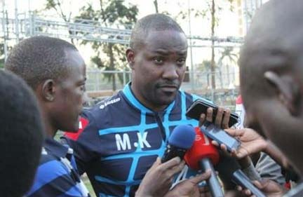 Proline coach Mujibu Kasule addressing the media ahead of the Soana game. Photo by Shaban Lubega.