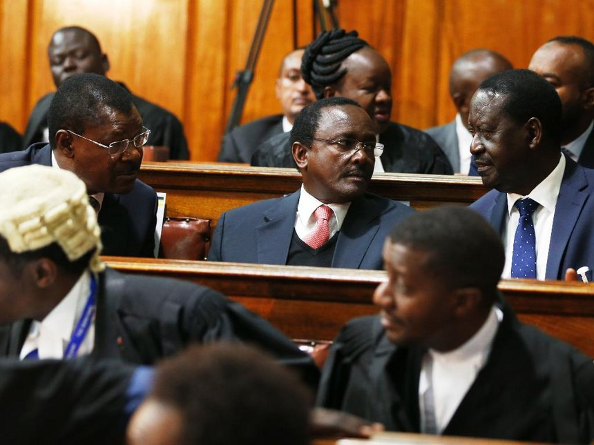 NASA Coalition presidential candidate Raila Odinga (R) with and his running mate Kalonzo Musyoka and Moses Wetangula at the supreme court for the proceedings of the presidential election petition they filed on August 28, 2017. Photo/Jack Owuor