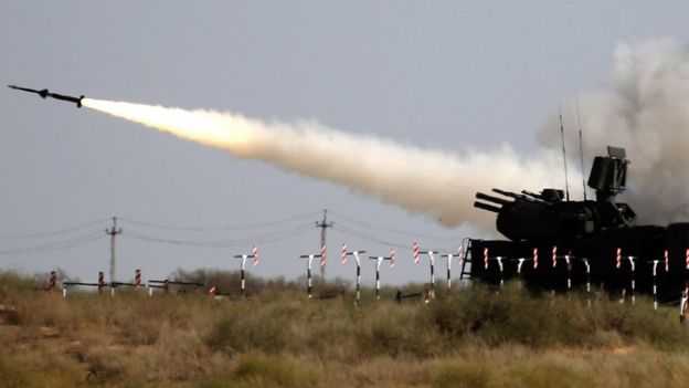 Pantsir anti-aircraft missile: Russian and foreign troops competed in army games last month. EPA picture.