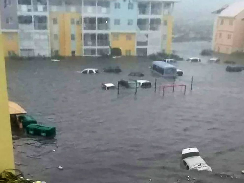 Cars under water on the flooded island of Saint-Martins in the aftermath if Hurricane Irma. Net picture.