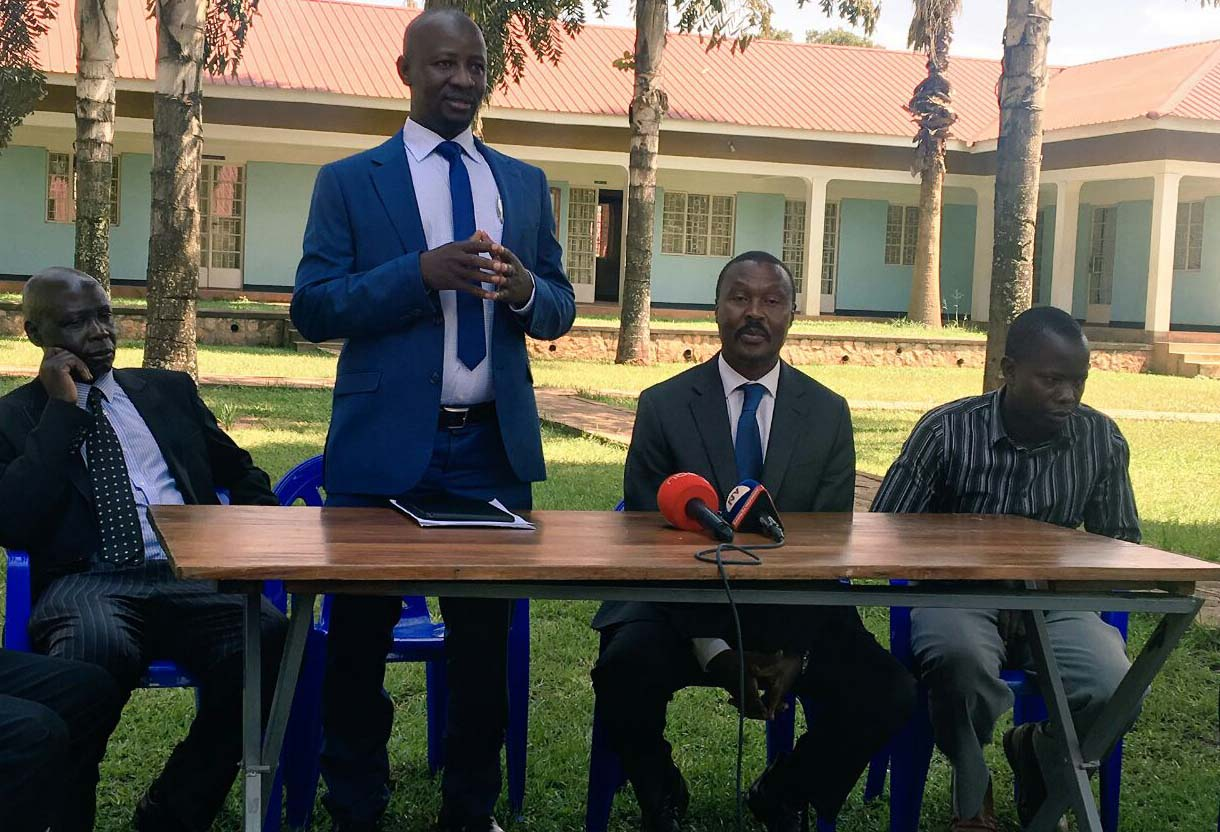 FDC spokesperson Ssemujju Ibrahim Nganda address journalists during the press conference in Luweero.