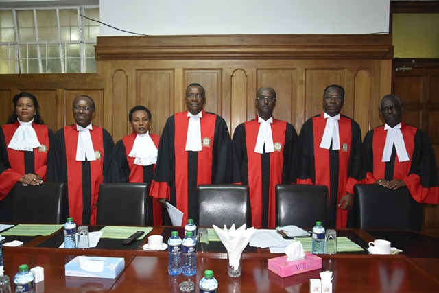 (Left - Right) Hon Lady Justice Njoki S. Ndungu, Hon. Justice (Prof.) Jackton Boma  Ojwang, Hon. Lady Justice Philomena Mbete Mwilu (Deputy Chief Justice), Hon. Justice David K. Maraga (Chief Justice), Hon. Justice Mohammed K. Ibrahim, Hon. Justice Dr Smokin C. Wanjala and Hon Justice Isaac Lenaola. August 26, 2017