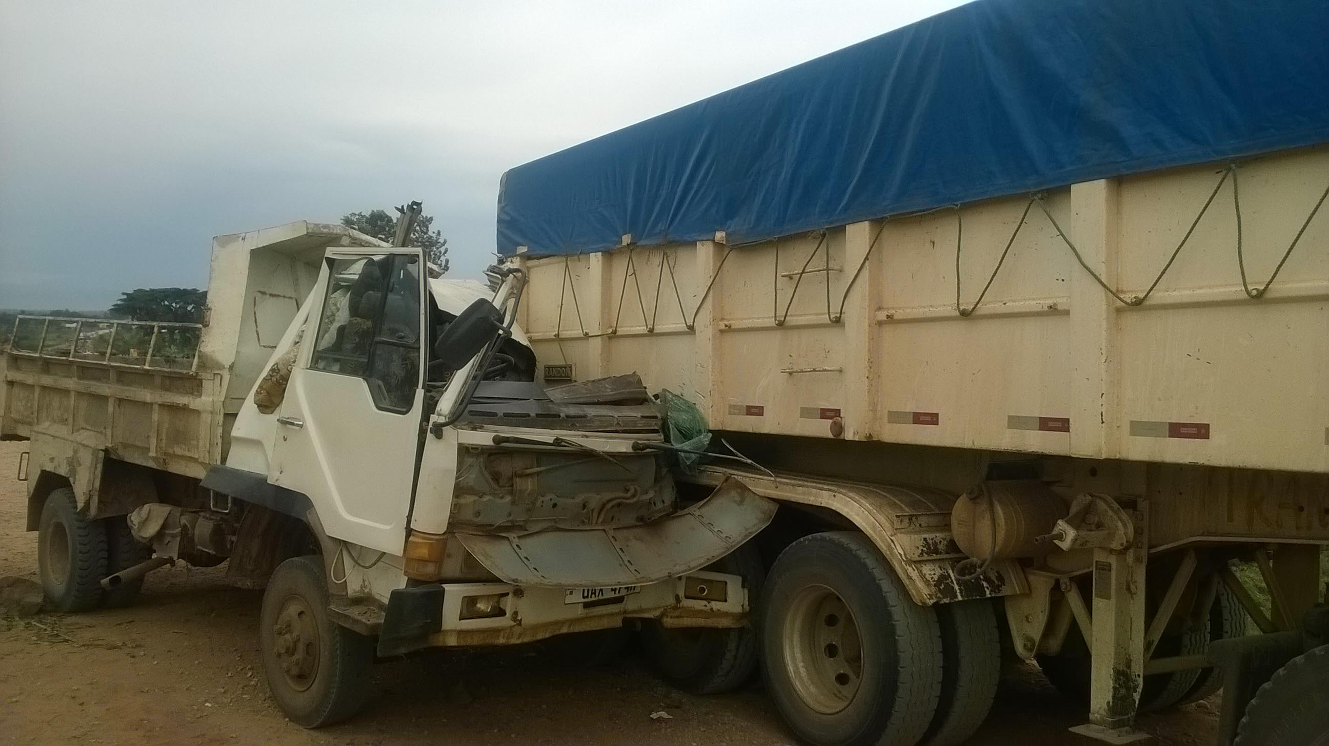 The tipper lorry slammed into the back of a larger truck on the Mbale-Tirinyi highway. Photo by Arthur Wadero