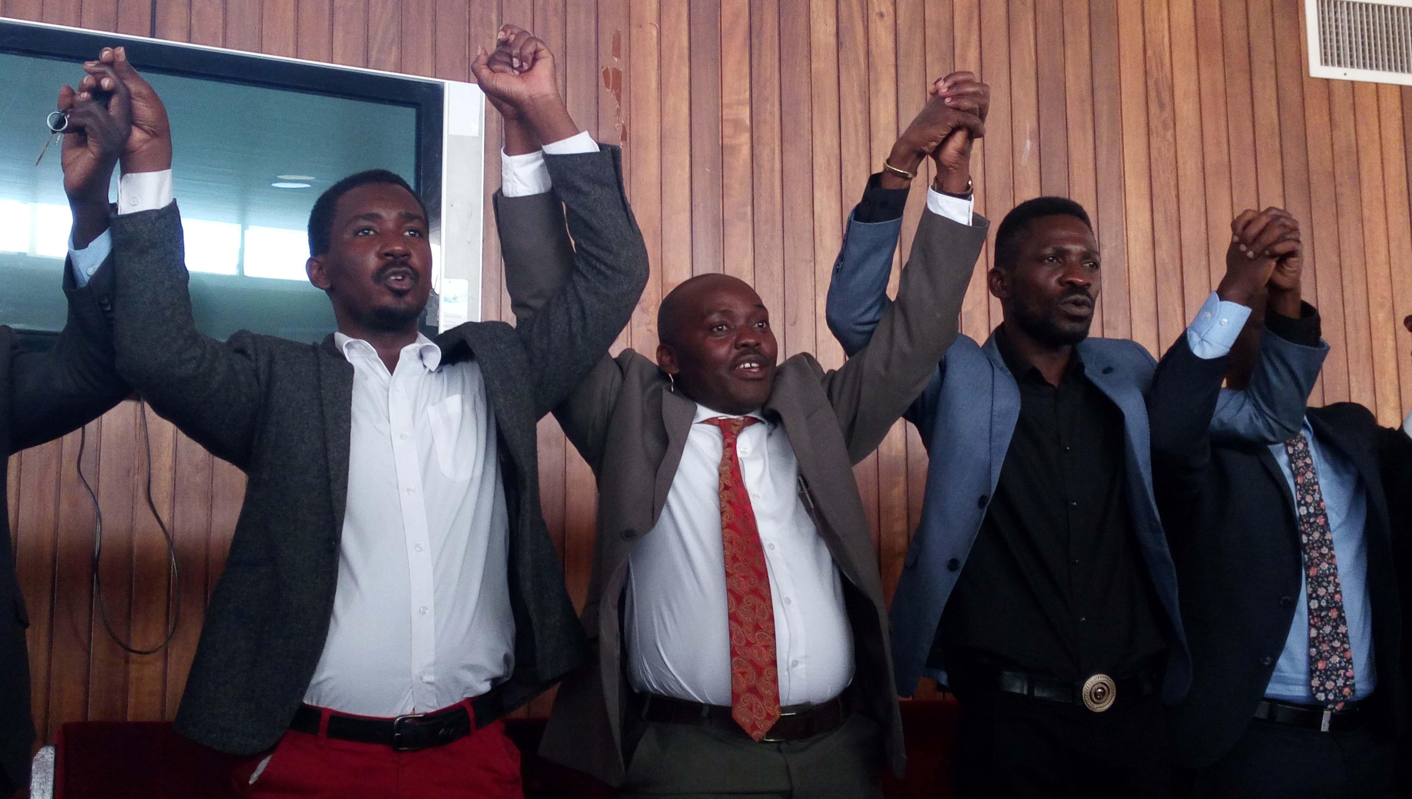 L-R: Allan Sewanyana - Makindye west MP, Medard Segona - Busiro East MP, Robert Kyagulanyi - Kyadondo East MP