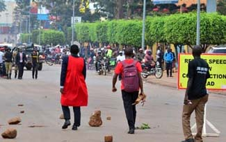 Makerere University students demonstrate against tuition increment (PHOTO/File)