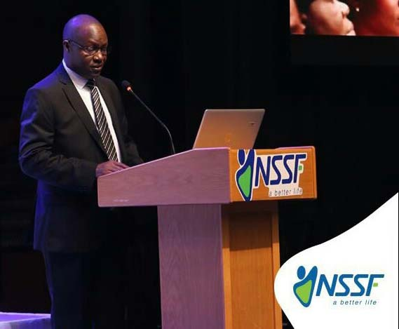 Nssf auditor, Joseph Hillary makes a presentation