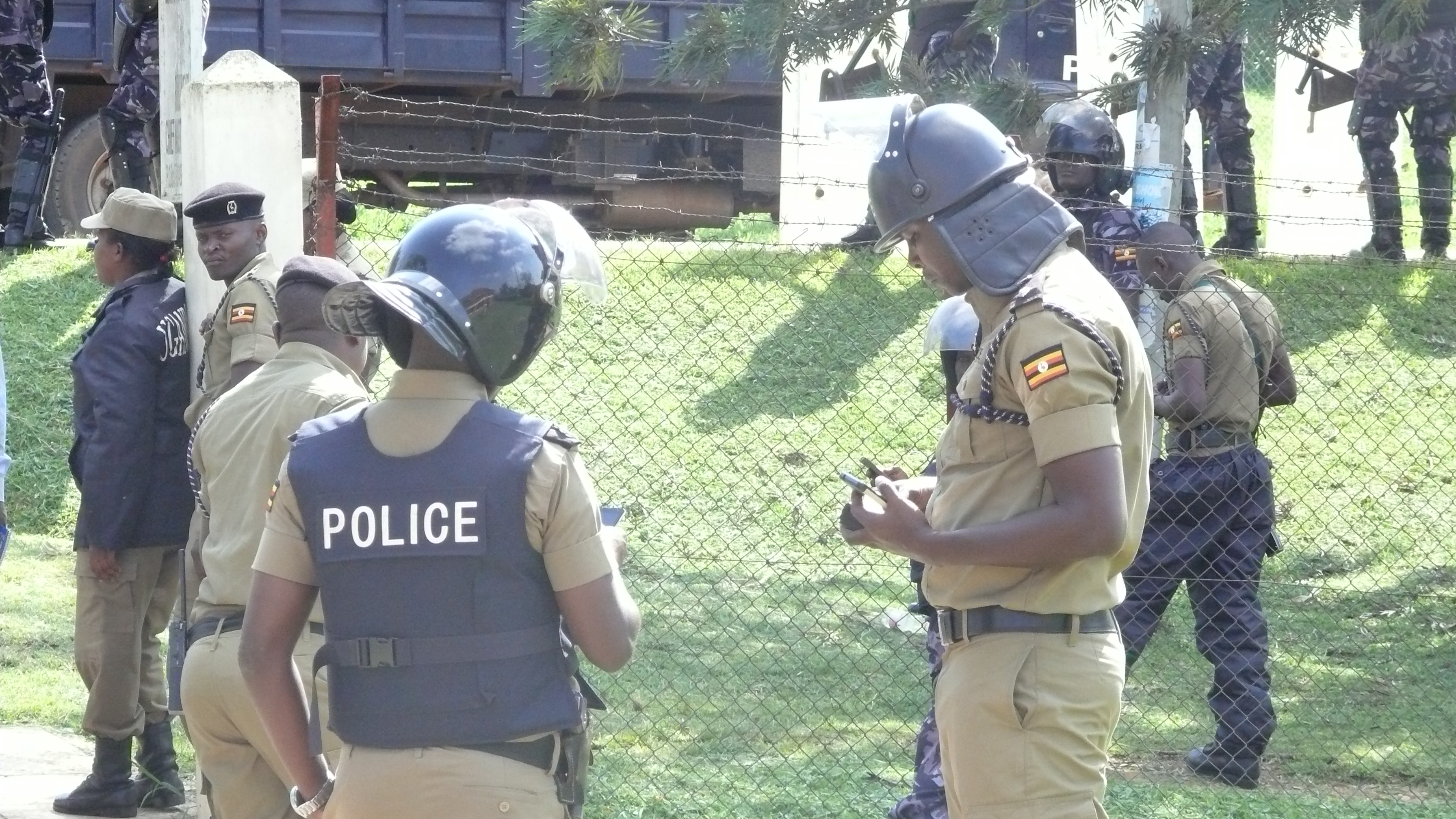 Police personnel camp outside Rukungiri court.