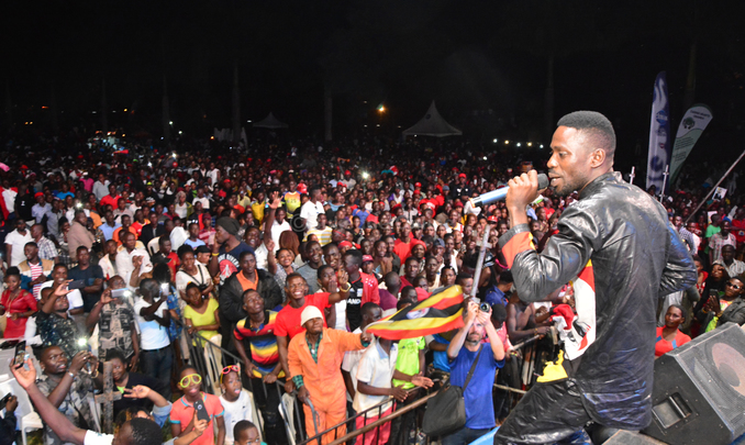 Bobi Wine performs for revelers at the Specioza concert. Photo by Paul Waiswa.