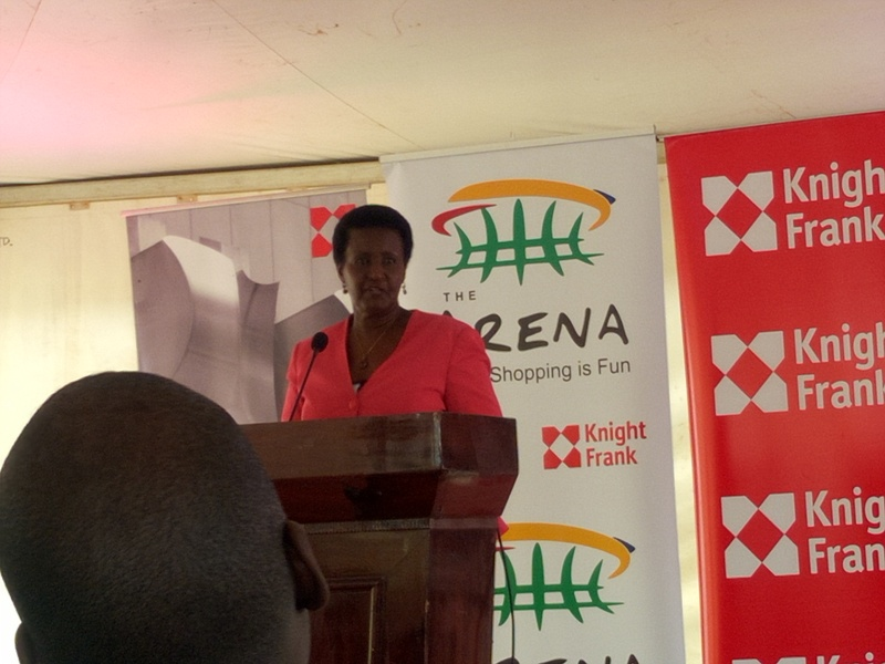 Trade minister Amelia Kyambadde officiating at the launch of the mall.