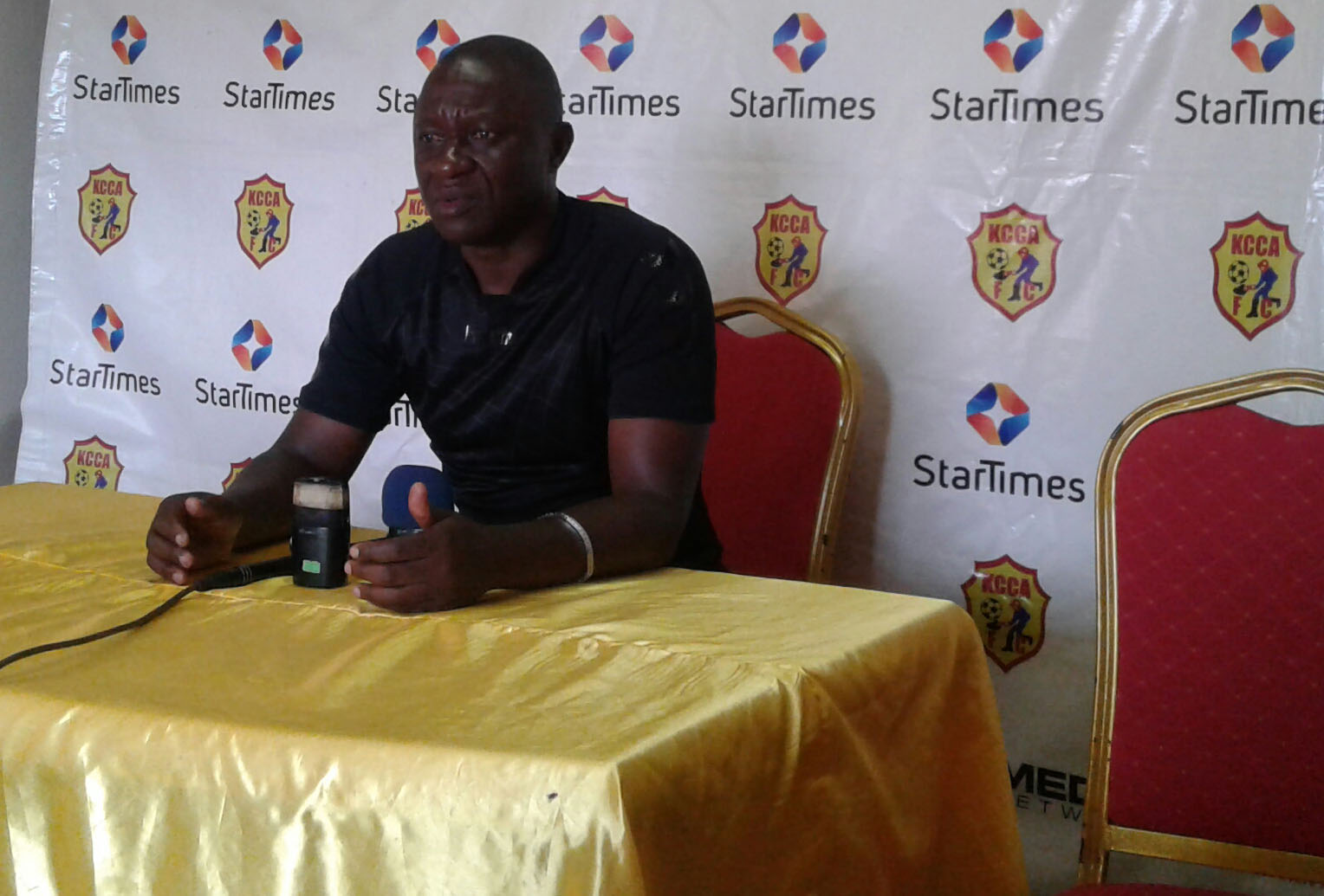 Mike Mutebi at the pre-match press conference in Friday.