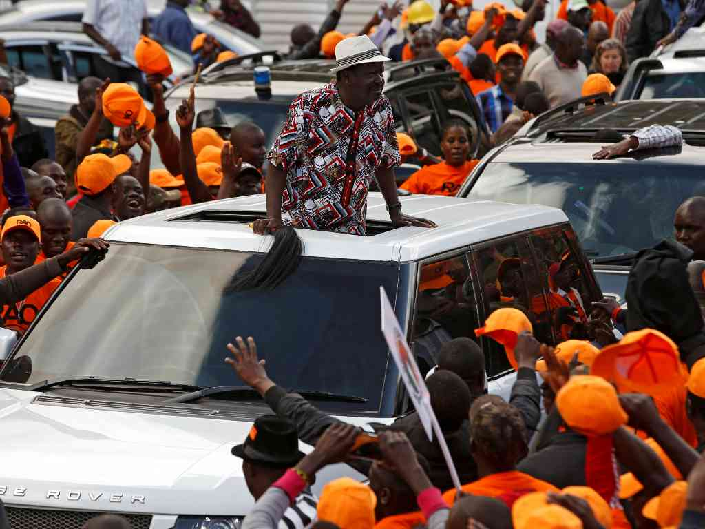 NASA leader Raila Odinga arrives at Kenya's Uhuru Park for the 'big announcement'. Courtesy photo..