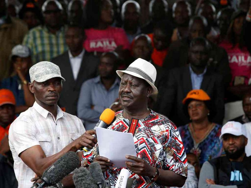 NASA  leader Raila Odinga addresses his supporters at Uhuru park. Courtesy photo.