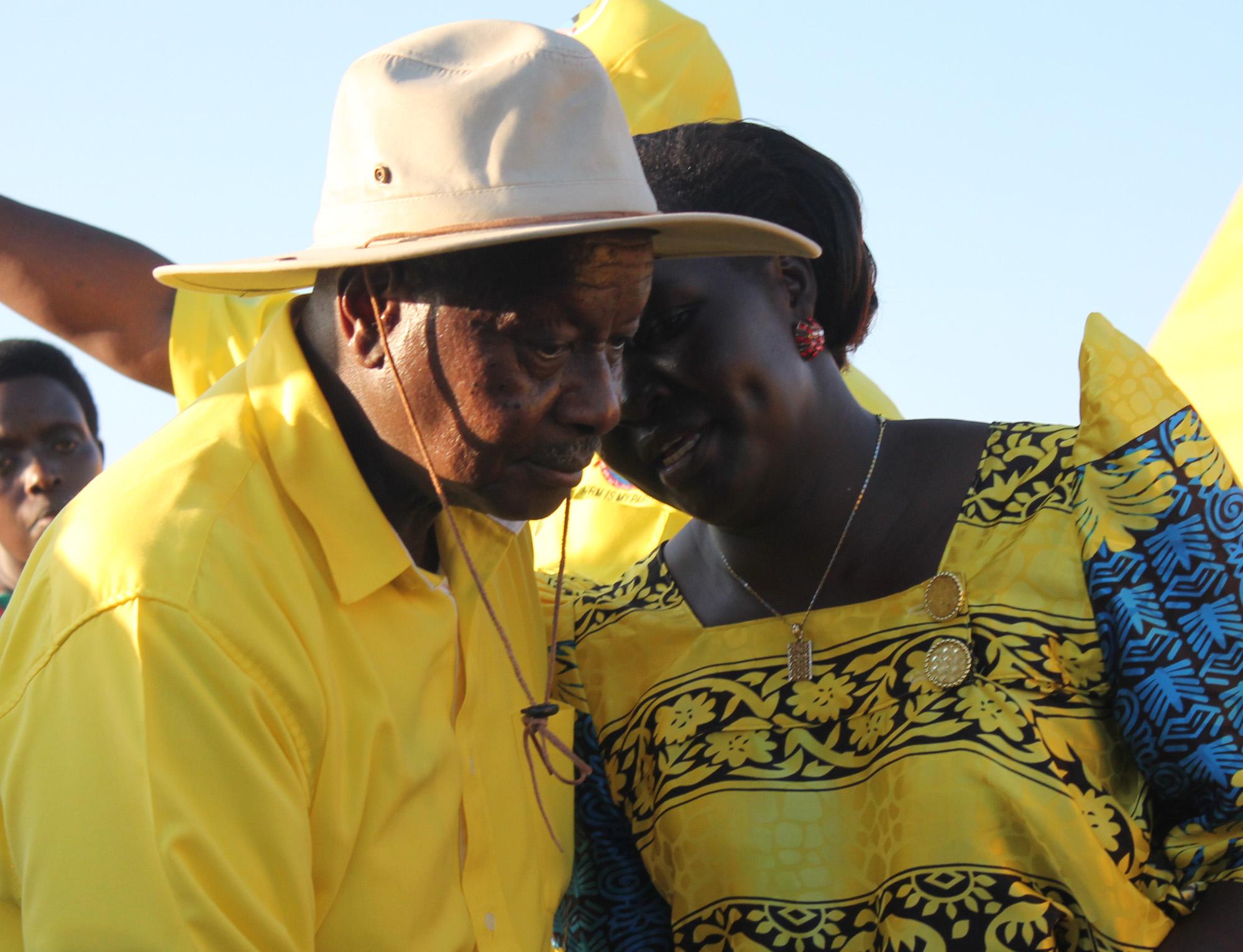 President Museveni listens to Omoro Woman Member of Parliament, Catherine Lamwaka recently.