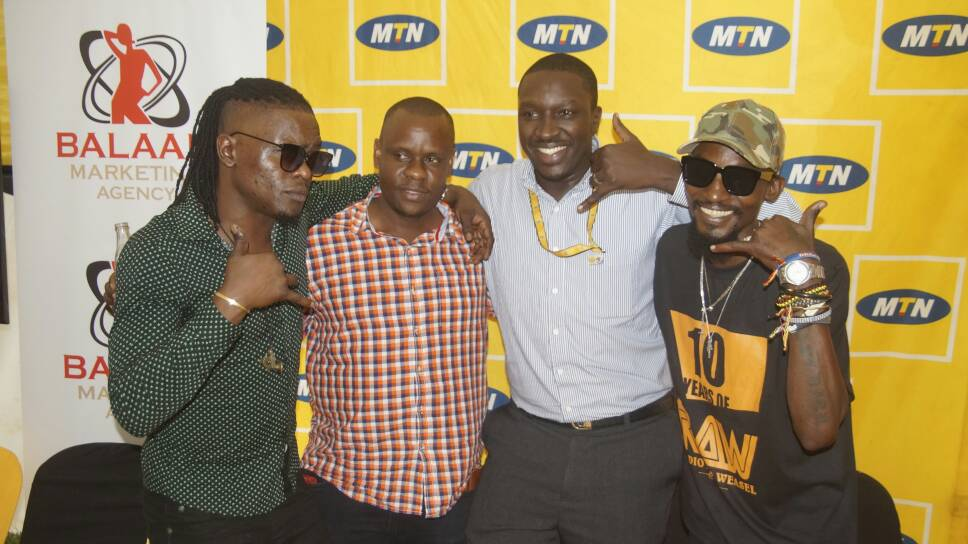 Weasle, Promoter Balam,Vaal Oketch of MTN and Radio at the press conference yesterday