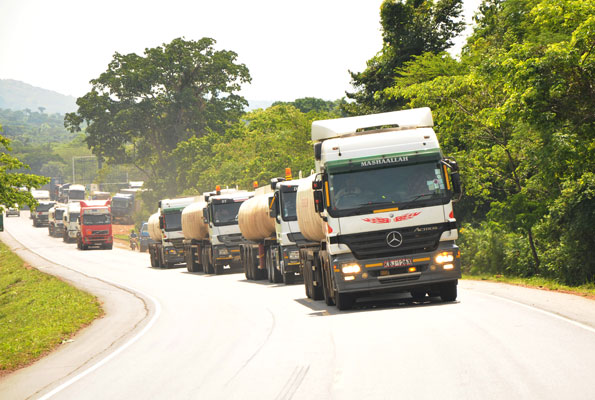 Trucks stranded at the border following election chaos in Kenya in 2007. File photo.