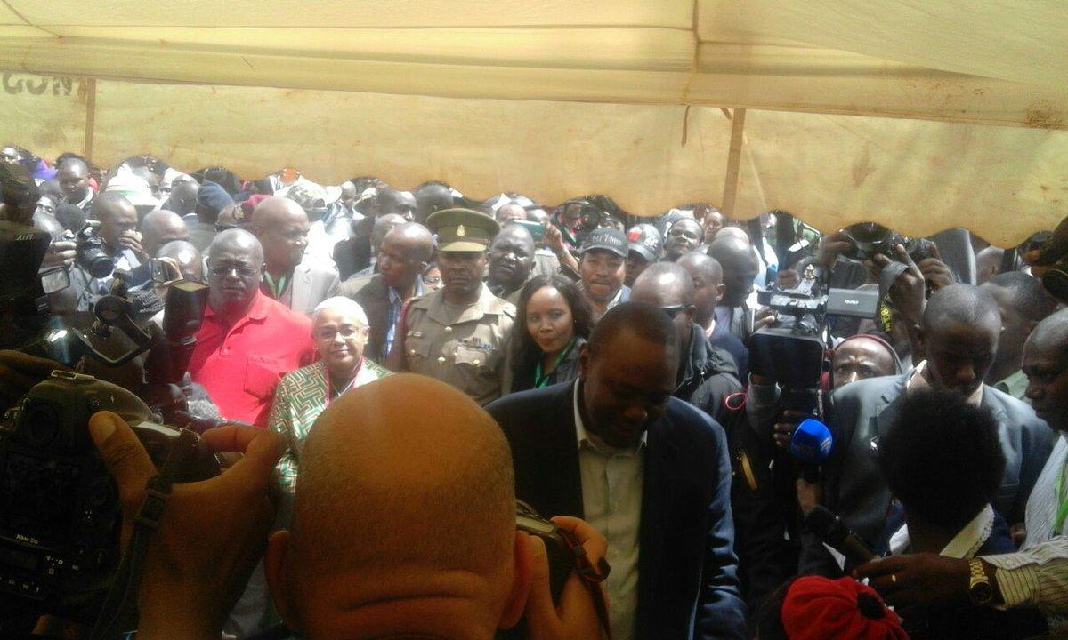 President Uhuru Kenyatta at Mutomo primary school polling station where he cast his vote on Thursday, October 26.