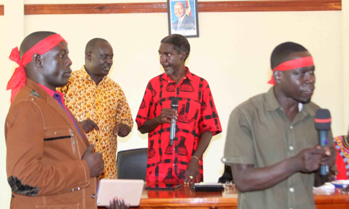 Lira Municipality MP Jimmy Akena speaking during a consultative meeting in Lira during the weekend. Courtesy photo.