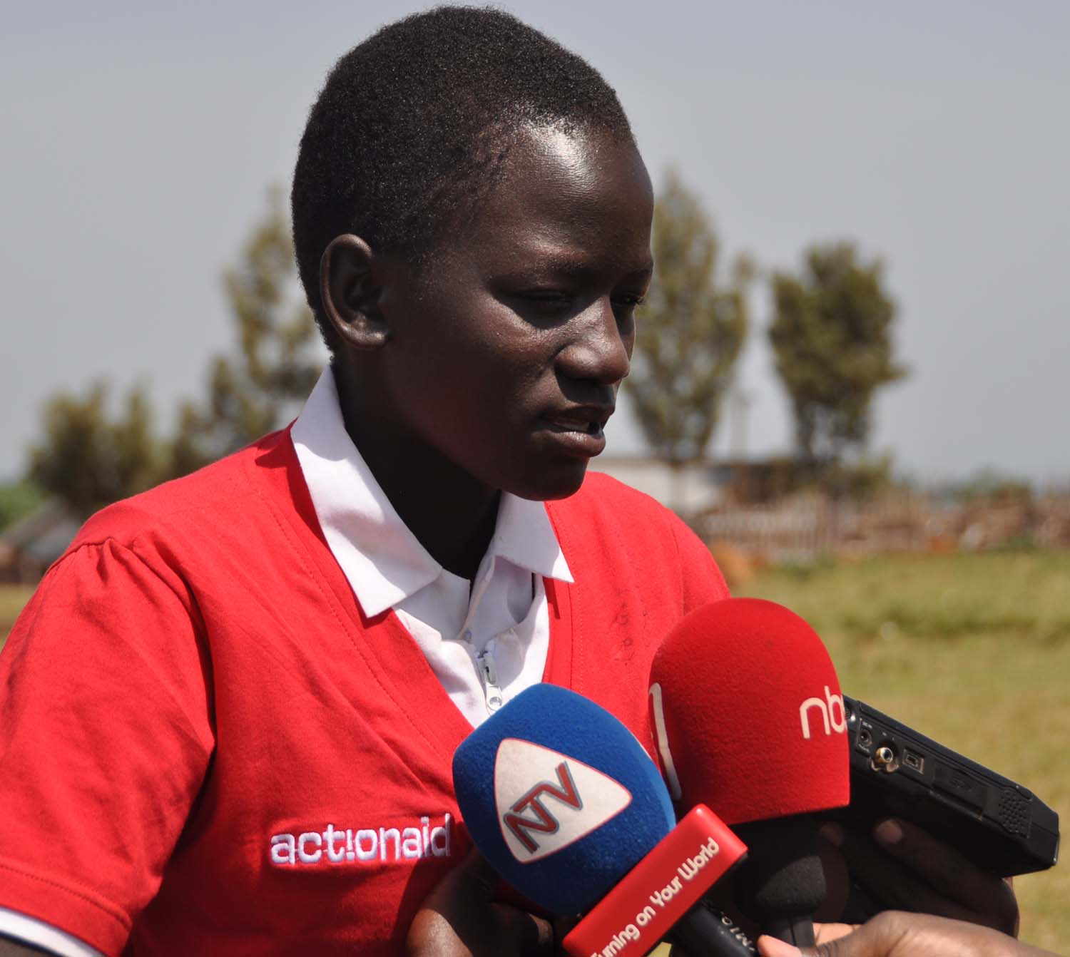 Caroline Mukit, 14 speaks at a function in Amudat district. She was married at 7 years, fled her home and is now at school in P6 and wants to be a lawyer.