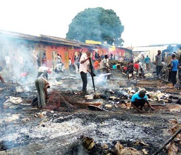 The Mbale market that caught fire leaving several trades counting losses. Courtesy photo.