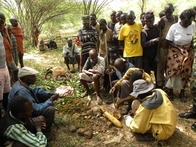 Karimojong elders perform rituals to exhume the pen in Lemusui village in Nakapiripirit district. David Mafabi