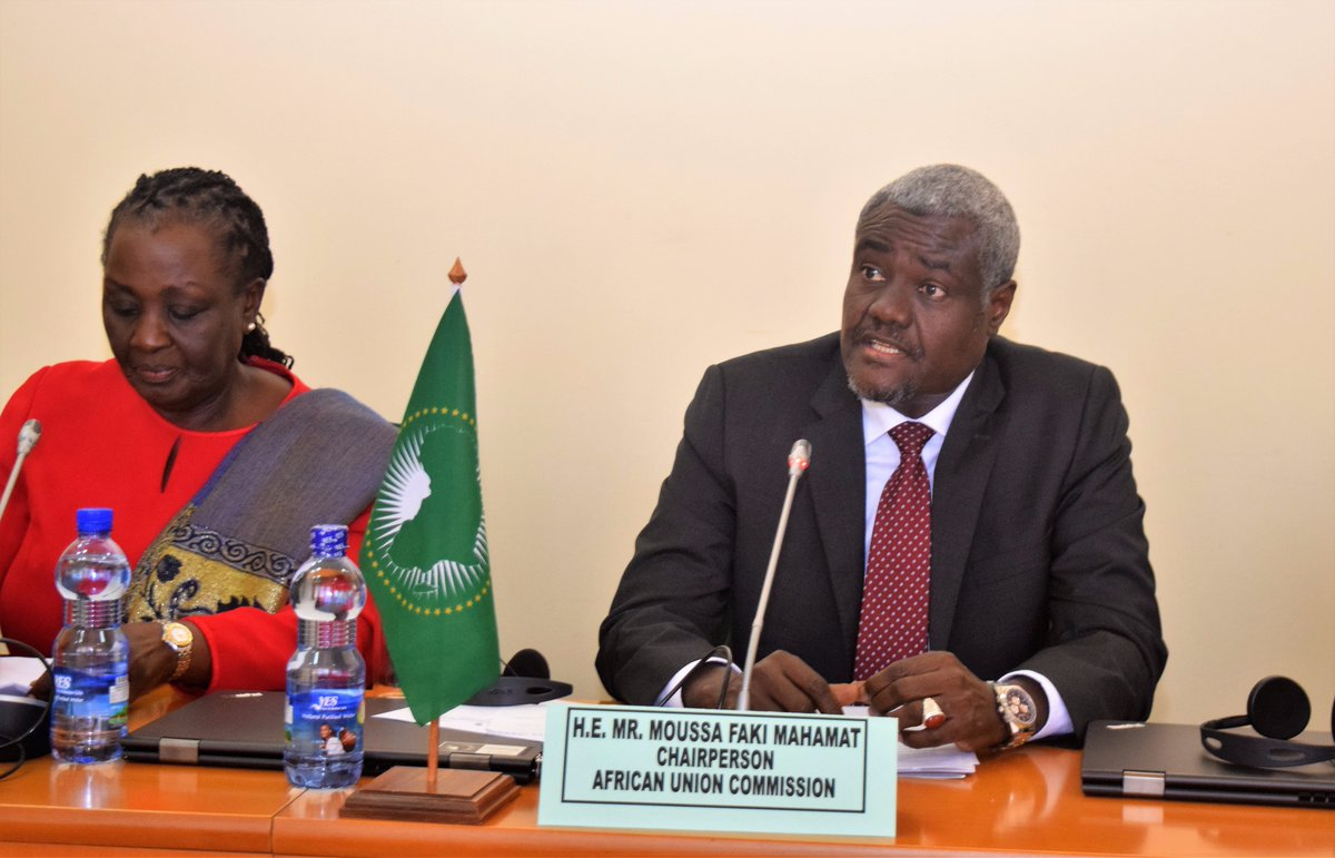 """African Union Peace on Twitter: """"Chairperson @MoussaFaki_M urges Panel of Wise to double efforts in resolution of conflicts linked to natural resource"""