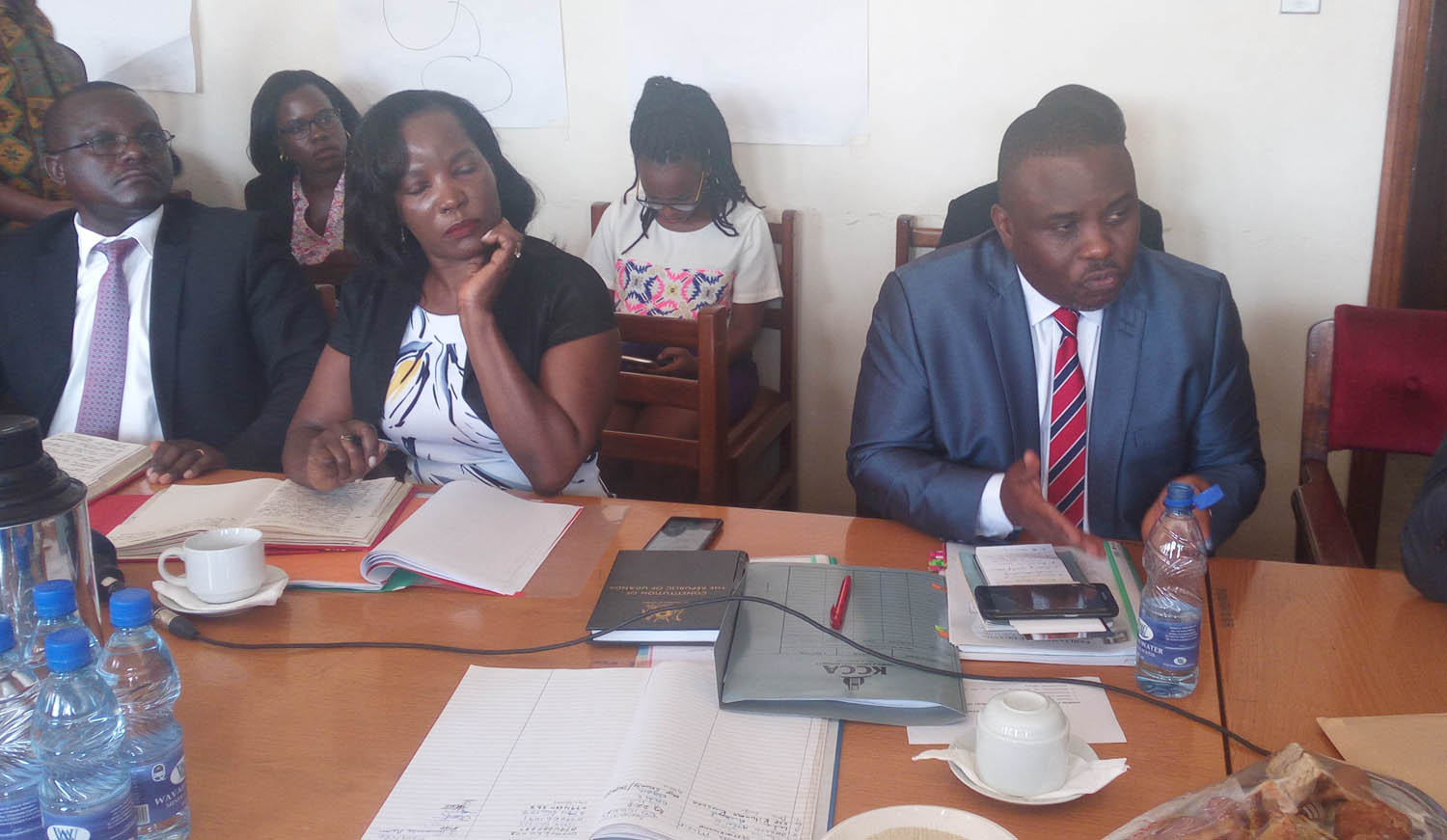 Lord Mayor Erias Lukwago (right) appears before MPs