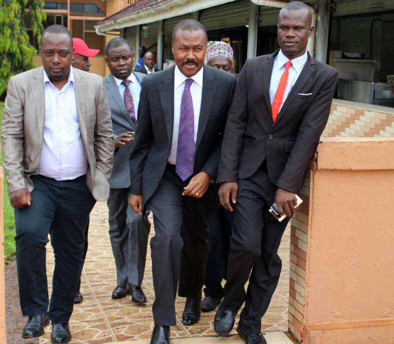 Gen Muntu arrives for the press conference.