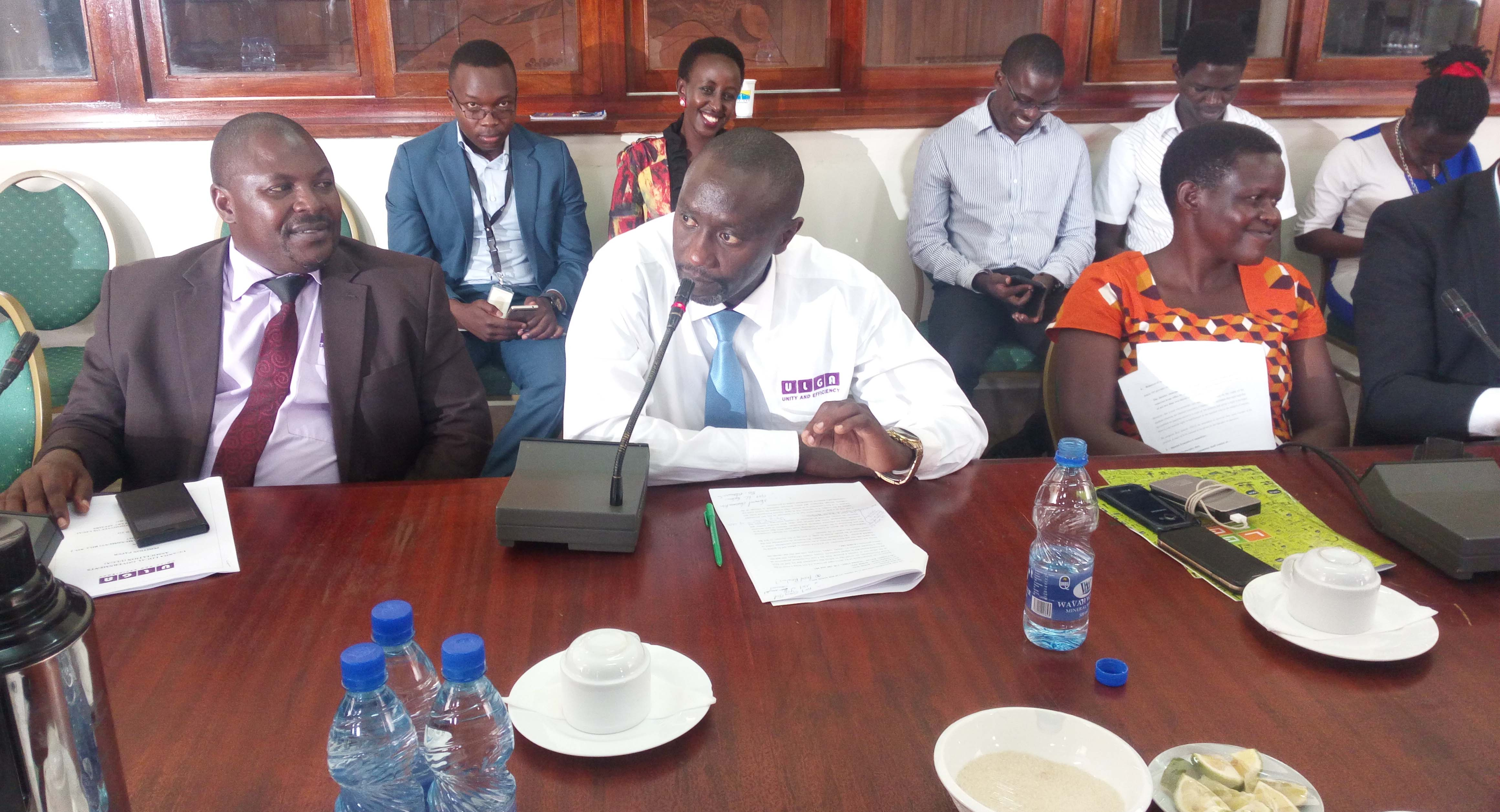 Mutabazi (center) appears with other ULGA officials