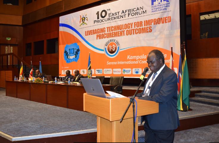 PPDA Board Chairman Professor Simeon Wanyama addresses delegates at the 10th East African Procurement Forum