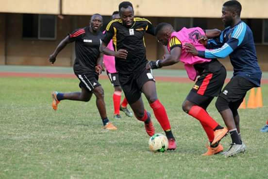 Some of the cranes players in a training session