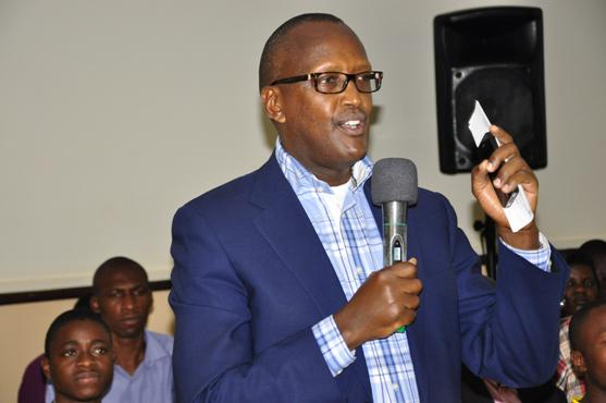 Security minister Henry Tumukunde speaks at a past event. File photo.