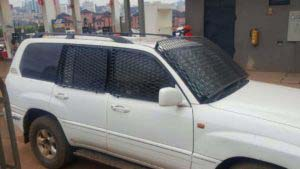 Dr Besigye's car that has been fitted with metal barricades