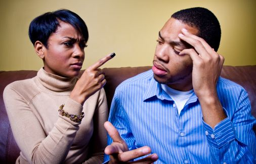 A couple engages in a verbal argument. File photo.