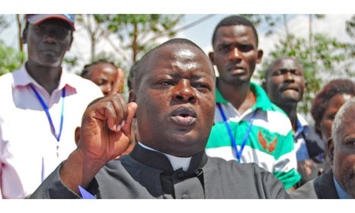 Father Jacinto Kibuuka addresses journalists recently. File photo.
