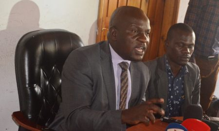 FDC's Paul Mwiru addresses journalists at party headquartersin Najjanakumbi. Courtesy photo.