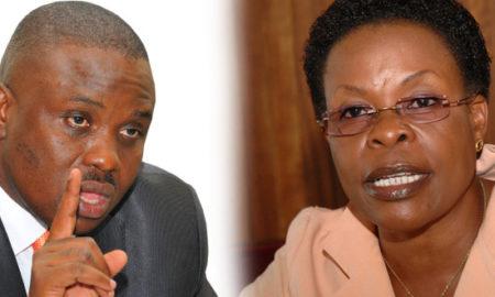 Lord Mayor Erias Lukwago and Kampala minister Beti Kamya.