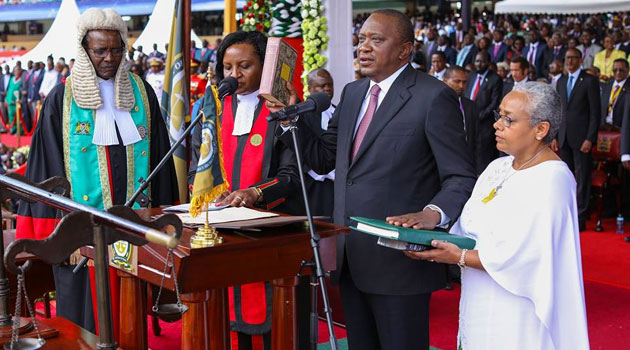 Kenyatta at the swearing in ceremony