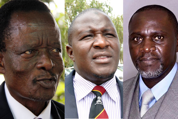 PDP president Abed Bwanika (right) and otheropposition party leaders.