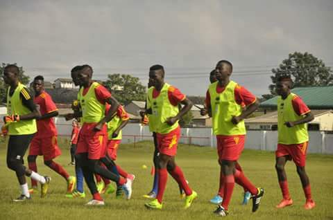 The Hippos going through training ahead of today's game against Malawi
