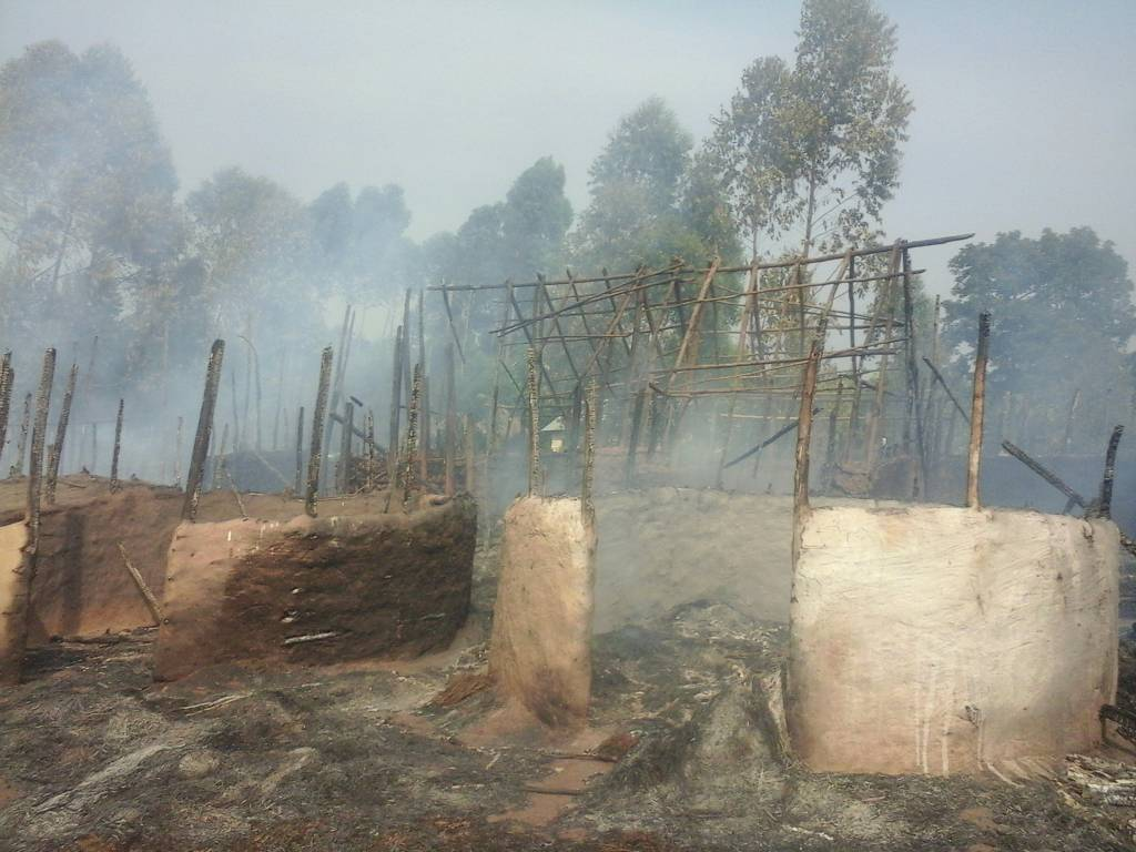"""Popular Bushenyi pork joint - Kabagarame has been razed down by fire. The joint which over the past few years has been known to draw affluent crowds at the weeknds as they eat panfried pork inside the grass-tharched houses amid rounds of local beer brew burnt to ashes thisTuesday afternoon. The cause of the fire was not readily available. An eyewitness posted on Whatsapp Group """"Lovers of pork, be looking for alternatives this Saturday. Kabagarame no more,"""" Located about two kilometres in tge outskirts of Bushenyi town, on Bushenyi-Ishaka Road, Kabagarame which has a unique local setting opens only on Saturday serves pork which is prepared with local accompaniments like millet (karo)."""