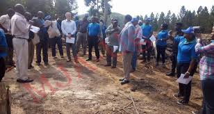 The European Union contingent and Mubende district executive launching the multi-million valley dam project