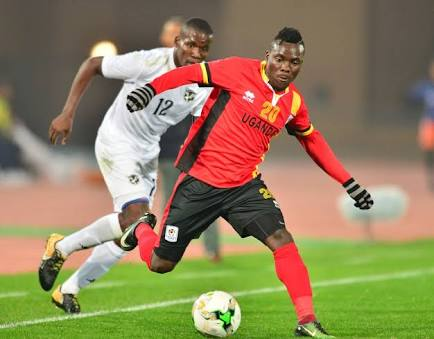 Uganda's Isaac Muleme(left) was a menace on the left side of attack but his crosses got no desired end product as the Cranes where eliminated.