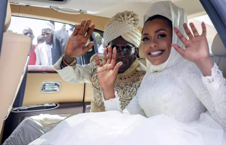 Tycoon SK Mbuga and wife during their wedding.