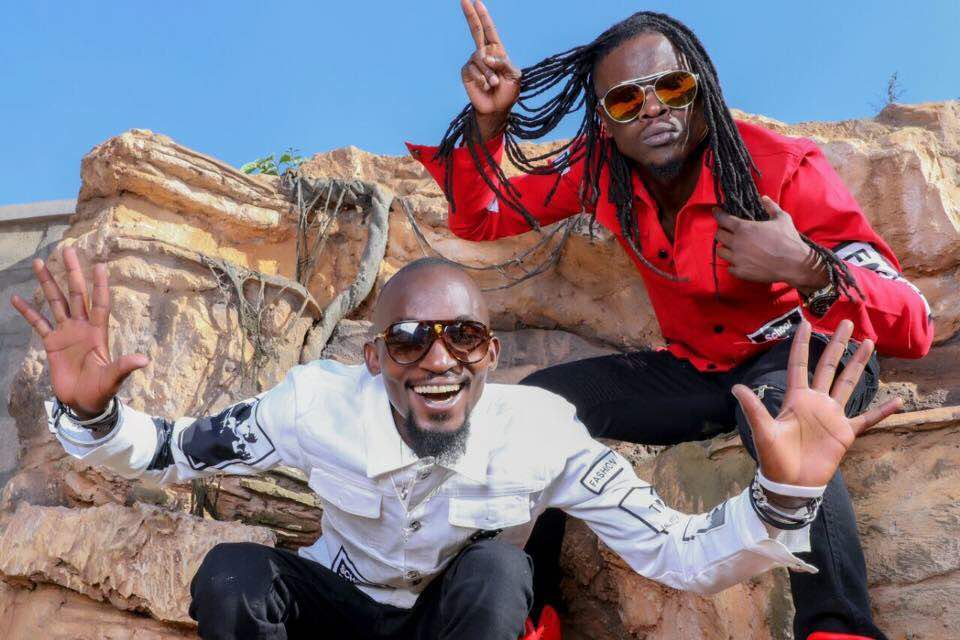 Late Mowzey Radio (left) and Douglas Mayanja aka Weasal (FILE PHOTO)