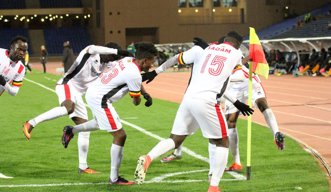 Some of the Cranes players celebrating the solitary goal they managed against Zambia on Sunday