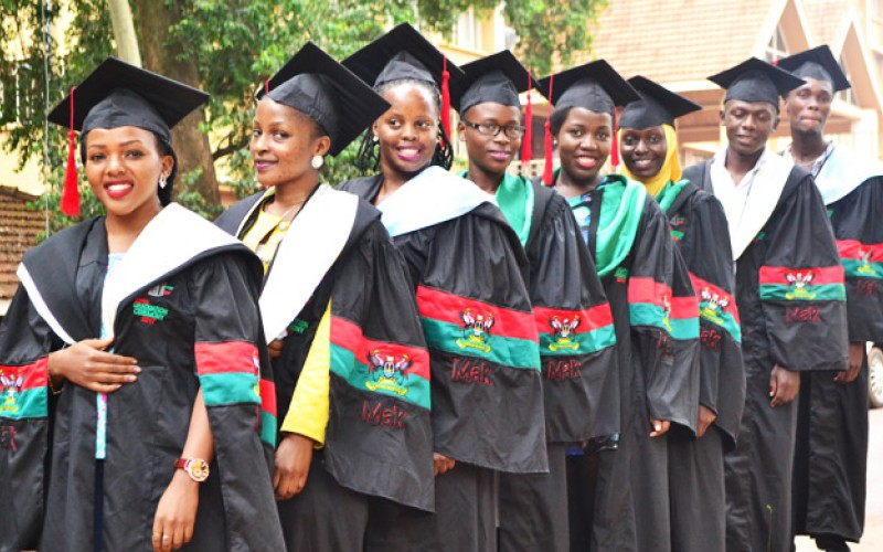Makerere University graduands in a customised gown unveiled recently.