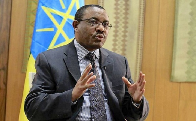 Ethiopian Prime Minister Hailemariam Desalegn speaks during an interview with journalists recently: NET PHOTO