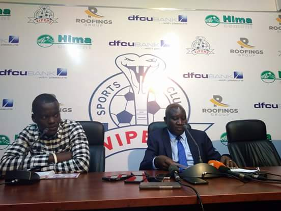 Vipers SC patron Lawrence Mulindwa addressing the media on Friday at Kitende.