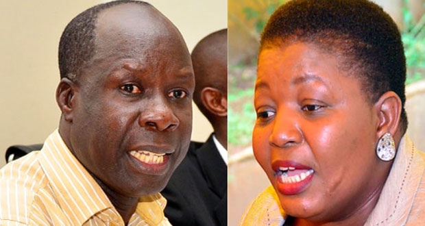 NRM party electoral commission chairman Tanga Odoi and perty secretary general Kasule Lumumba: NET PHOTO