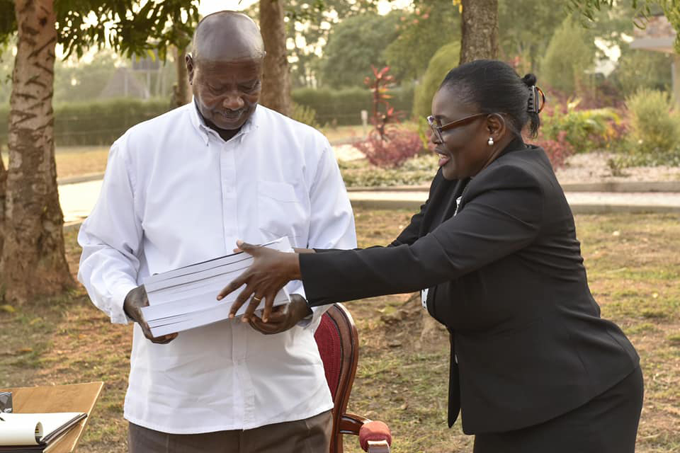 Justice Catherine Bamugemairere hands over